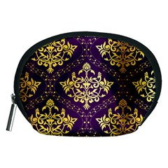 Flower Purplle Gold Accessory Pouches (medium)  by Mariart