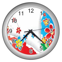 Flower Floral Papper Butterfly Star Sunflower Red Blue Green Leaf Wall Clocks (silver)  by Mariart