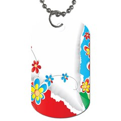 Flower Floral Papper Butterfly Star Sunflower Red Blue Green Leaf Dog Tag (one Side) by Mariart