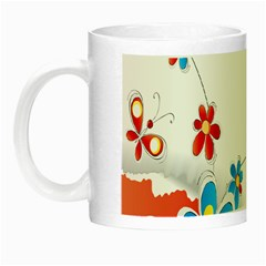 Flower Floral Papper Butterfly Star Sunflower Red Blue Green Leaf Night Luminous Mugs by Mariart
