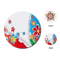 Flower Floral Papper Butterfly Star Sunflower Red Blue Green Leaf Playing Cards (round)  by Mariart