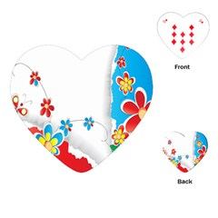 Flower Floral Papper Butterfly Star Sunflower Red Blue Green Leaf Playing Cards (heart)