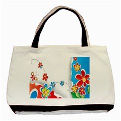 Flower Floral Papper Butterfly Star Sunflower Red Blue Green Leaf Basic Tote Bag (two Sides) by Mariart
