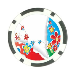 Flower Floral Papper Butterfly Star Sunflower Red Blue Green Leaf Poker Chip Card Guard by Mariart