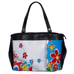 Flower Floral Papper Butterfly Star Sunflower Red Blue Green Leaf Office Handbags by Mariart