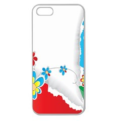 Flower Floral Papper Butterfly Star Sunflower Red Blue Green Leaf Apple Seamless Iphone 5 Case (clear) by Mariart