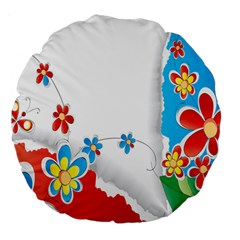 Flower Floral Papper Butterfly Star Sunflower Red Blue Green Leaf Large 18  Premium Round Cushions by Mariart