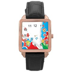 Flower Floral Papper Butterfly Star Sunflower Red Blue Green Leaf Rose Gold Leather Watch  by Mariart