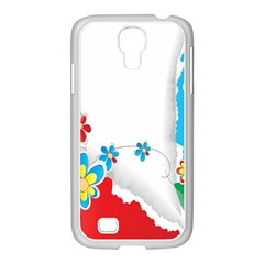 Flower Floral Papper Butterfly Star Sunflower Red Blue Green Leaf Samsung Galaxy S4 I9500/ I9505 Case (white)