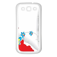 Flower Floral Papper Butterfly Star Sunflower Red Blue Green Leaf Samsung Galaxy S3 Back Case (white) by Mariart
