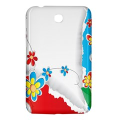 Flower Floral Papper Butterfly Star Sunflower Red Blue Green Leaf Samsung Galaxy Tab 3 (7 ) P3200 Hardshell Case  by Mariart