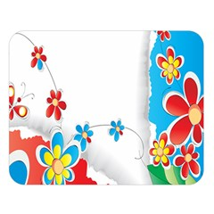 Flower Floral Papper Butterfly Star Sunflower Red Blue Green Leaf Double Sided Flano Blanket (large)  by Mariart