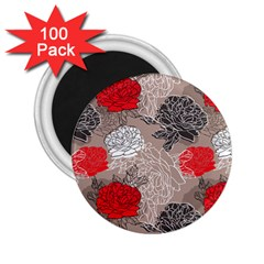 Flower Rose Red Black White 2 25  Magnets (100 Pack)  by Mariart