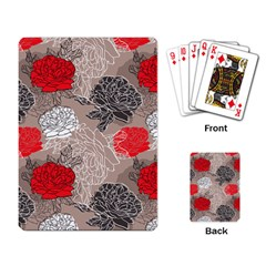 Flower Rose Red Black White Playing Card by Mariart