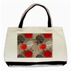 Flower Rose Red Black White Basic Tote Bag by Mariart