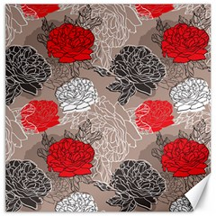 Flower Rose Red Black White Canvas 12  X 12   by Mariart
