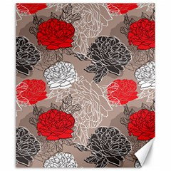 Flower Rose Red Black White Canvas 20  X 24   by Mariart