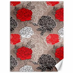 Flower Rose Red Black White Canvas 36  X 48   by Mariart