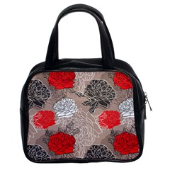 Flower Rose Red Black White Classic Handbags (2 Sides) by Mariart