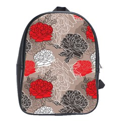 Flower Rose Red Black White School Bags(large)