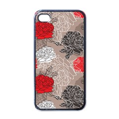 Flower Rose Red Black White Apple Iphone 4 Case (black) by Mariart