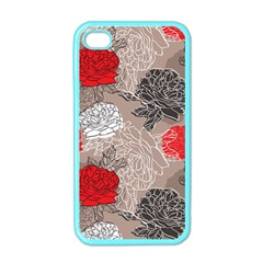 Flower Rose Red Black White Apple Iphone 4 Case (color) by Mariart