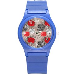 Flower Rose Red Black White Round Plastic Sport Watch (s) by Mariart