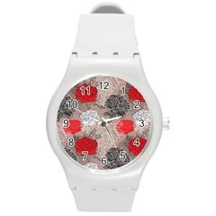 Flower Rose Red Black White Round Plastic Sport Watch (m) by Mariart