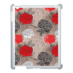Flower Rose Red Black White Apple Ipad 3/4 Case (white) by Mariart