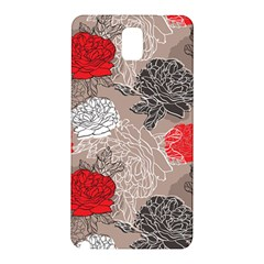 Flower Rose Red Black White Samsung Galaxy Note 3 N9005 Hardshell Back Case by Mariart