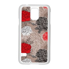 Flower Rose Red Black White Samsung Galaxy S5 Case (white) by Mariart