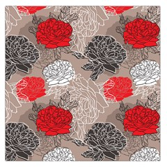 Flower Rose Red Black White Large Satin Scarf (square) by Mariart