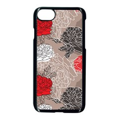Flower Rose Red Black White Apple Iphone 7 Seamless Case (black) by Mariart