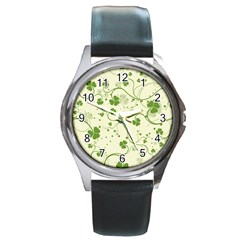 Flower Green Shamrock Round Metal Watch by Mariart
