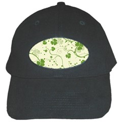Flower Green Shamrock Black Cap by Mariart