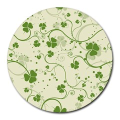 Flower Green Shamrock Round Mousepads by Mariart