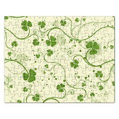 Flower Green Shamrock Rectangular Jigsaw Puzzl by Mariart