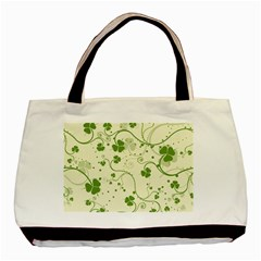 Flower Green Shamrock Basic Tote Bag by Mariart