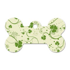 Flower Green Shamrock Dog Tag Bone (one Side) by Mariart