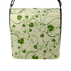 Flower Green Shamrock Flap Messenger Bag (l)  by Mariart