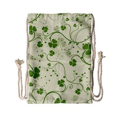 Flower Green Shamrock Drawstring Bag (small) by Mariart