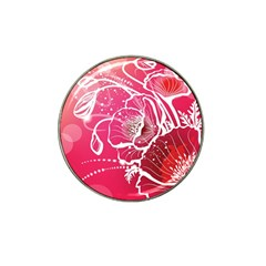 Flower Red Sakura Pink Hat Clip Ball Marker (4 Pack) by Mariart