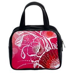 Flower Red Sakura Pink Classic Handbags (2 Sides) by Mariart