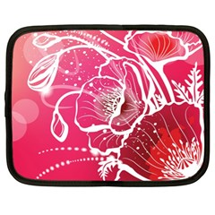 Flower Red Sakura Pink Netbook Case (xl)  by Mariart