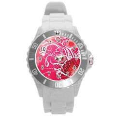 Flower Red Sakura Pink Round Plastic Sport Watch (l) by Mariart