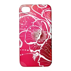 Flower Red Sakura Pink Apple Iphone 4/4s Hardshell Case With Stand by Mariart