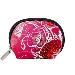 Flower Red Sakura Pink Accessory Pouches (small)  by Mariart