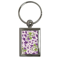 Flower Sakura Star Purple Green Leaf Key Chains (rectangle)  by Mariart