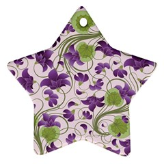 Flower Sakura Star Purple Green Leaf Star Ornament (two Sides) by Mariart