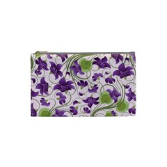 Flower Sakura Star Purple Green Leaf Cosmetic Bag (small)  by Mariart